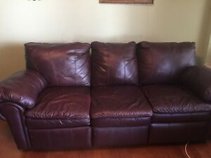 Details about Leather Burgundy Recliner Sofa and matching Chair