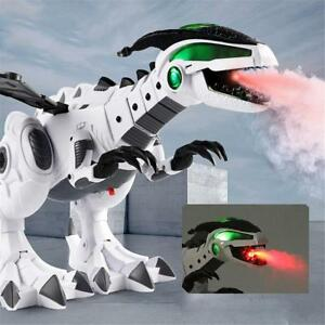 Kids Electric Mechanical Spray Fire Simulation Dinosaur Light Sound Toy piq