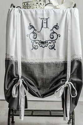 Anna Grigio Ricamato Roman 120x120 French Romanticismo Tenda Raff Tenda Shabby-