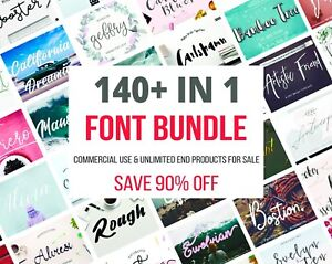 Details about Fonts bundle 140+ IN 1, fonts set, fonts pack, commercial  use, extended license