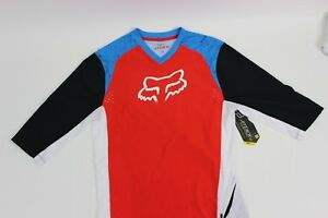 FOX-RACING-Attack-Jersey-3-4-Sleeve-Men-039-s-Cyan-Small-S-NEW