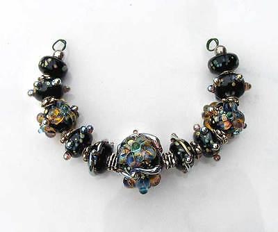 LGL- Handmade Lampwork Loose beads BLACK VELVET Nc1489- SRA- DIY Jewelry Craft