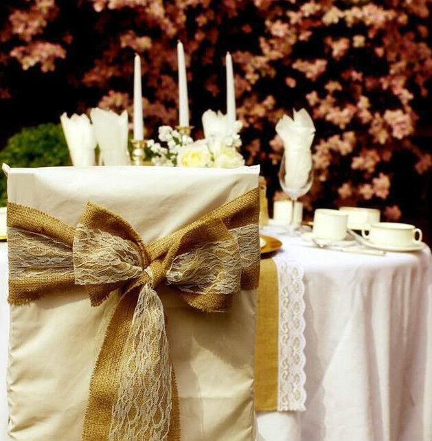 Vintage Wedding de Hesse et ivoire dentelle chair sashes X 50