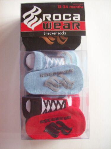 Roca Wear Crib Shoes Booties Sneaker Socks 3 Pair Sz 12-24 Mos Red Blu Blk NIB