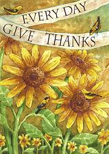 """Sunflower Give Thanks Everyday Garden Flag Bird Decorative Summer Banner 12""""x18"""""""