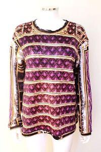 Balmain-Oversized-Gold-Purple-Print-Neoprene-Sweatshirt-Top-F36-uk-8