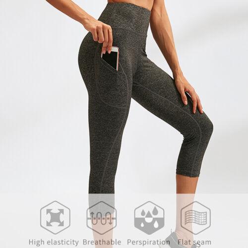 Women Workout Running Capris Leggings Pocket Tummy Control High Waist Yoga Pants