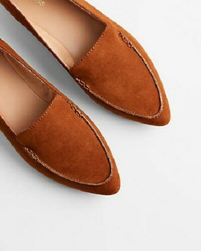 NWT express brown faux suede pointed loafer 00928156 flats sz 7