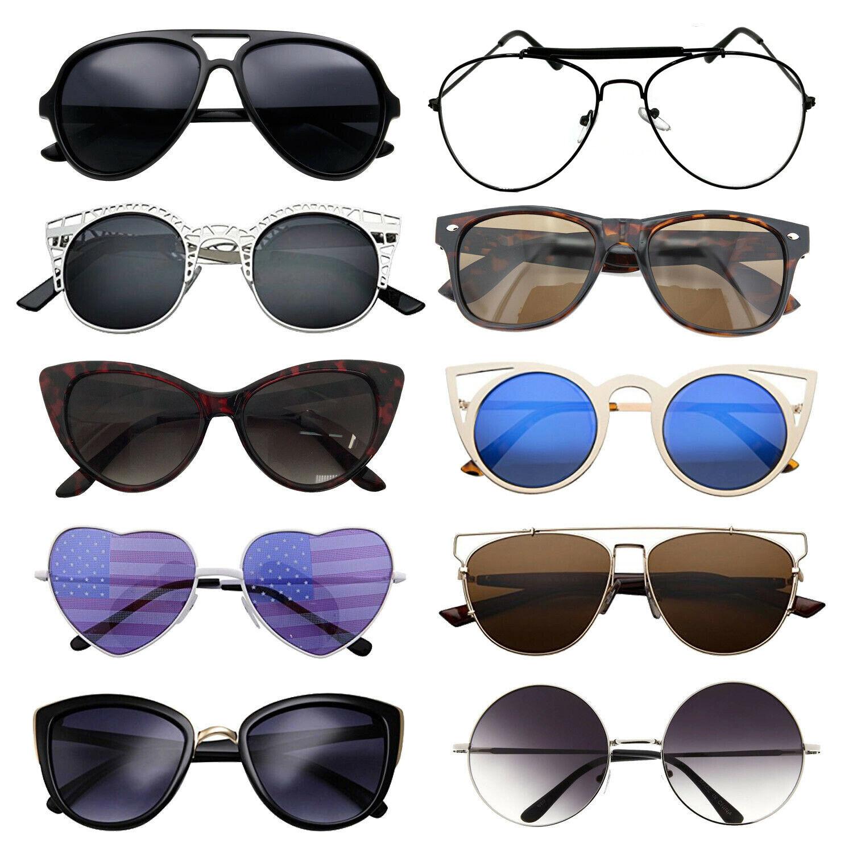 10 Pairs Bulk Lot Wholesale Women Sunglasses Fashion Eyeglasses Assorted Styles