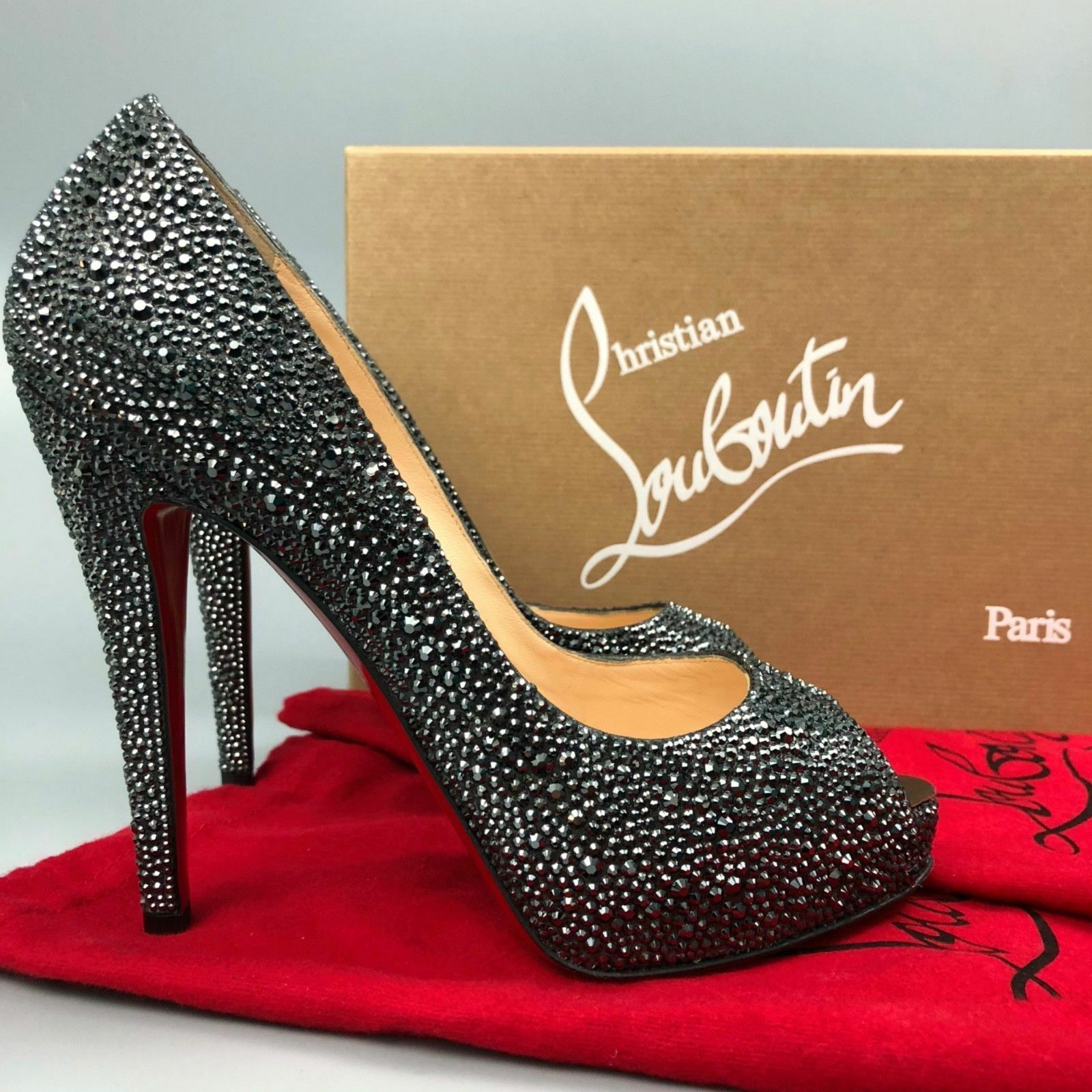 3300 NEW Christian Louboutin Very Riche 120 Strass Crystal High Heel shoes 39.5