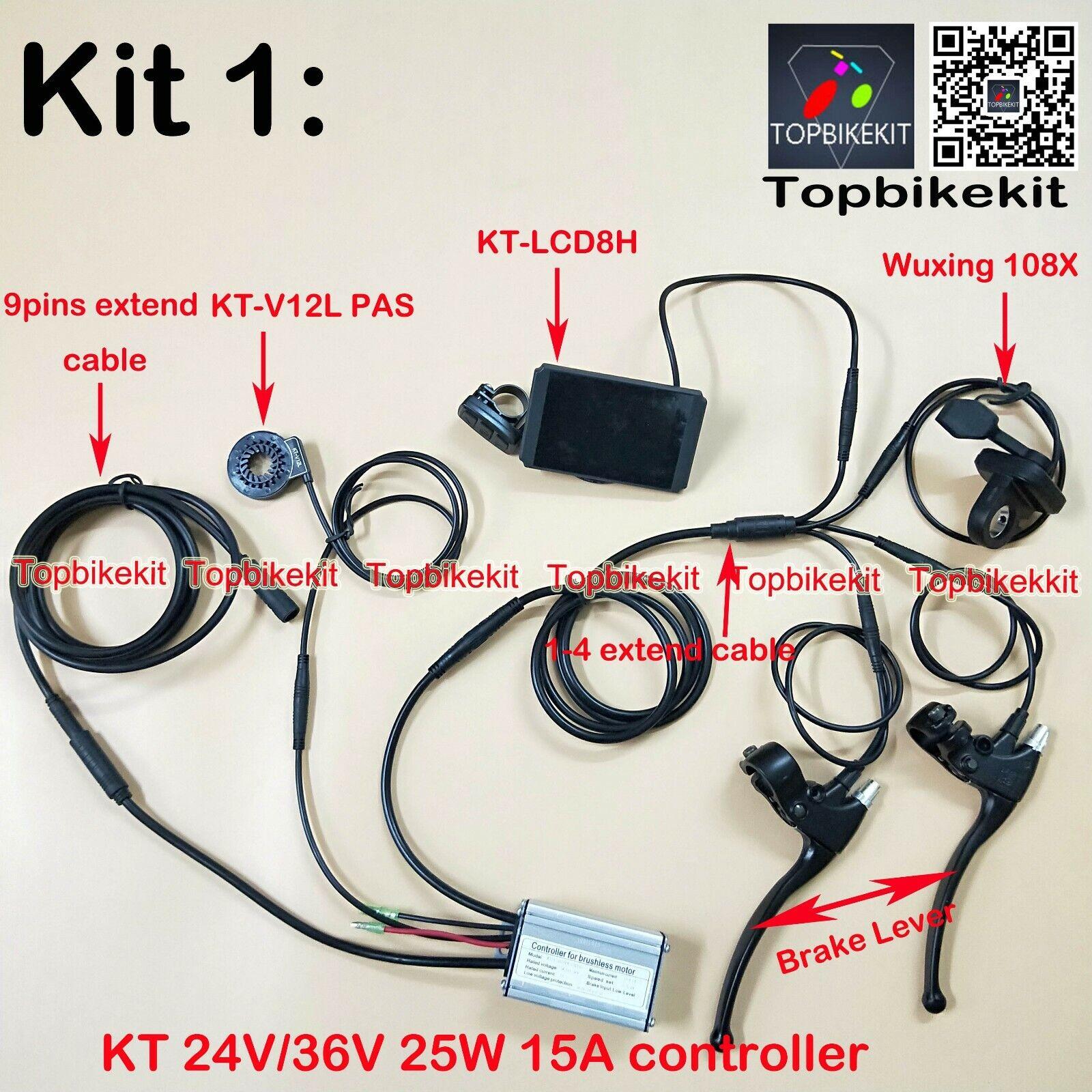 Ebike KT Controller Kit 24V 36V 250W + LCD3+108X thredtle+KT-V12L+Brake+ extend