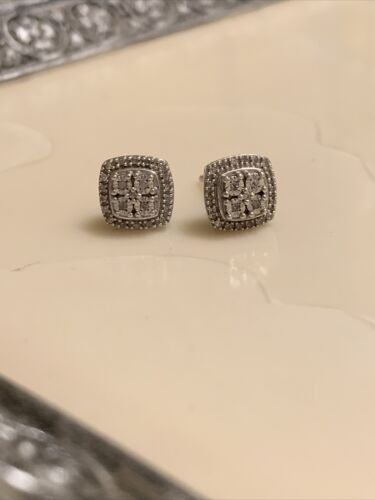 Sterling Silver 925 Earrings With Tiny Diamonds