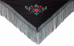 Chale De Flamenco Brode Multicolor Fillette Ture 100% Garantie