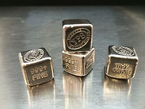1-oz-Hand-Poured-999-Silver-Bullion-Bar-034-Cube-034-by-YPS-Yeager-039-s-Poured-Silver