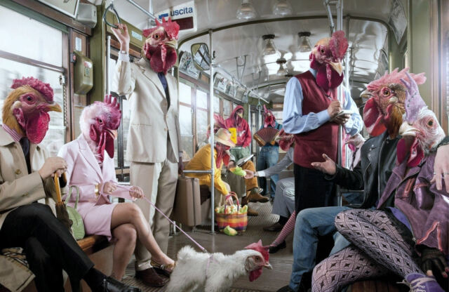 Framed Weird Print of Chicken People on a Bus (Picture Poster Freaky Art)