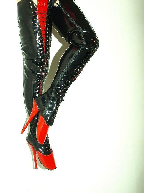 consegna veloce nero-RED LEATHER-STRETCH  HIGH stivali stivali stivali  Dimensione 9-16 HEELS-8,4 - BALLET- POLAND  forniamo il meglio
