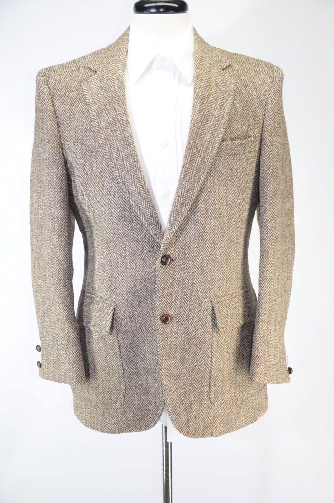 Brooks Brothers Harris Tweed Wool Herringbone 2 Button Blazer Trad VTG 39R