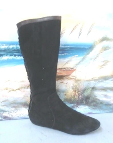 SEIBERLING Black Leather Fashion Boots Womens Size