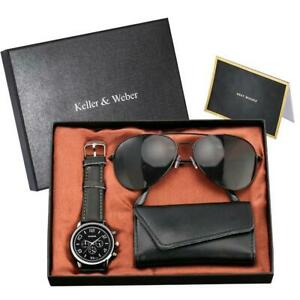 Creative Men's Accessory Sunglasses Key Holder with Quartz Watch Best Gift Set