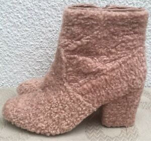 92d588244a3 Details about Primark Atmosphere Pink Ankle Chunky Heel Boots Woolly Winter  Fur Size 5 EUR 38