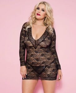 4ad7234f25b Details about Plus Size Lace Long Sleeve Mini Chemise With Matching G-String  - Music Legs 6007