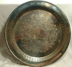 VTG-William-A-Rogers-silver-plated-Decorative-Round-serving-tray-Platter-15-034