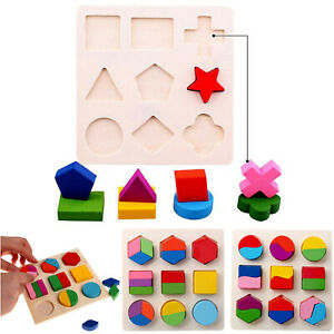 Baby Wooden Fraction Shape Puzzle Toys For Montessori Early Educational Learning