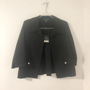 Ming-Wang-Black-Jacket-Elegant-Draping-NWT-Women-s-Size-Petite-Medium-MRSP-220