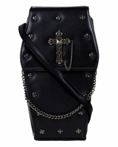 cuero Cofre Mochila o Pu mano gótico cruz de Bolso negro vegano 5050337193017 Gothx 4z4U6