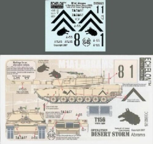 Echelon Decals 1//35 M1A1 Abrams 3-67 Armor Tiger Brigade ECH356025