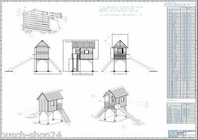 Bauplan Kinder Spielhaus 1,5 hoch Holz Gartenhaus Holzhaus Kinderhaus Kunterbunt