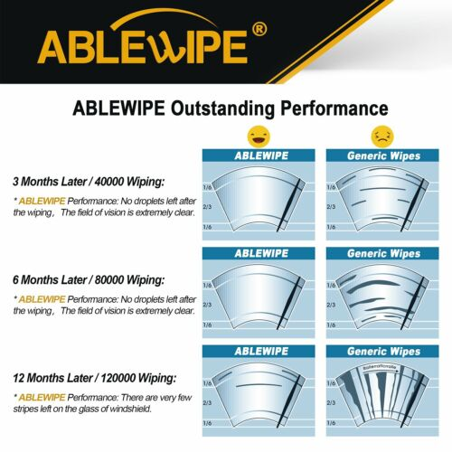 "ABLEWIPE 26/""/&17/"" Fit For Nissan Maxima 2008-2000 Quality Windshield Wiper Blades"