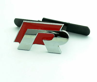 VW 3D Mount R Line Logo Grill Badge Logo For VW Golf Polo GTI Red