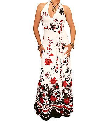 New Floral Border Print Mesh Maxi Dress - Halter Neck