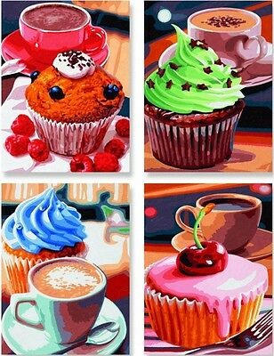 Cupcakes Quatro Cupcake Paint by Numbers Schipper 4x 18x24cm Muffins New