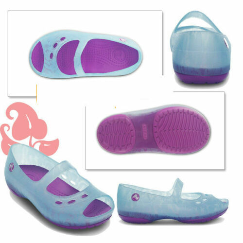Light Blue//Dahlia-UK10 CROCS Chameleon Carlie Flat Flower Girls Sandals C10