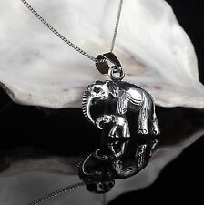 Solid Sterling Silver 925 Mother & Baby Elephant Pendant Chain Necklace Gift Box
