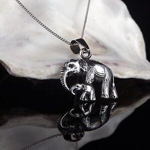 Sterlingsilber-925-Anhaenger-Mutter-amp-Baby-Elefant-40-6-45-7cm-Kette-Geschenk-Box