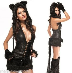 NEW-Ladies-5-Pc-Deluxe-Black-Fur-Cat-Animal-Fancy-Dress-Halloween-Costume-Outfit