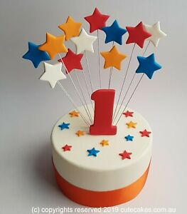 Tremendous Stars Cake Topper Funky Colours Multi Colors Age Birthday Wiggles Personalised Birthday Cards Arneslily Jamesorg