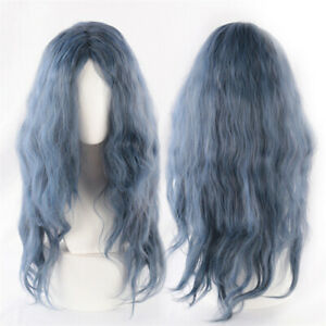 Enchanted Black Forest Cosplay Witch Fluffy Blue Mixed Hair Wigs Curly Wig Cap