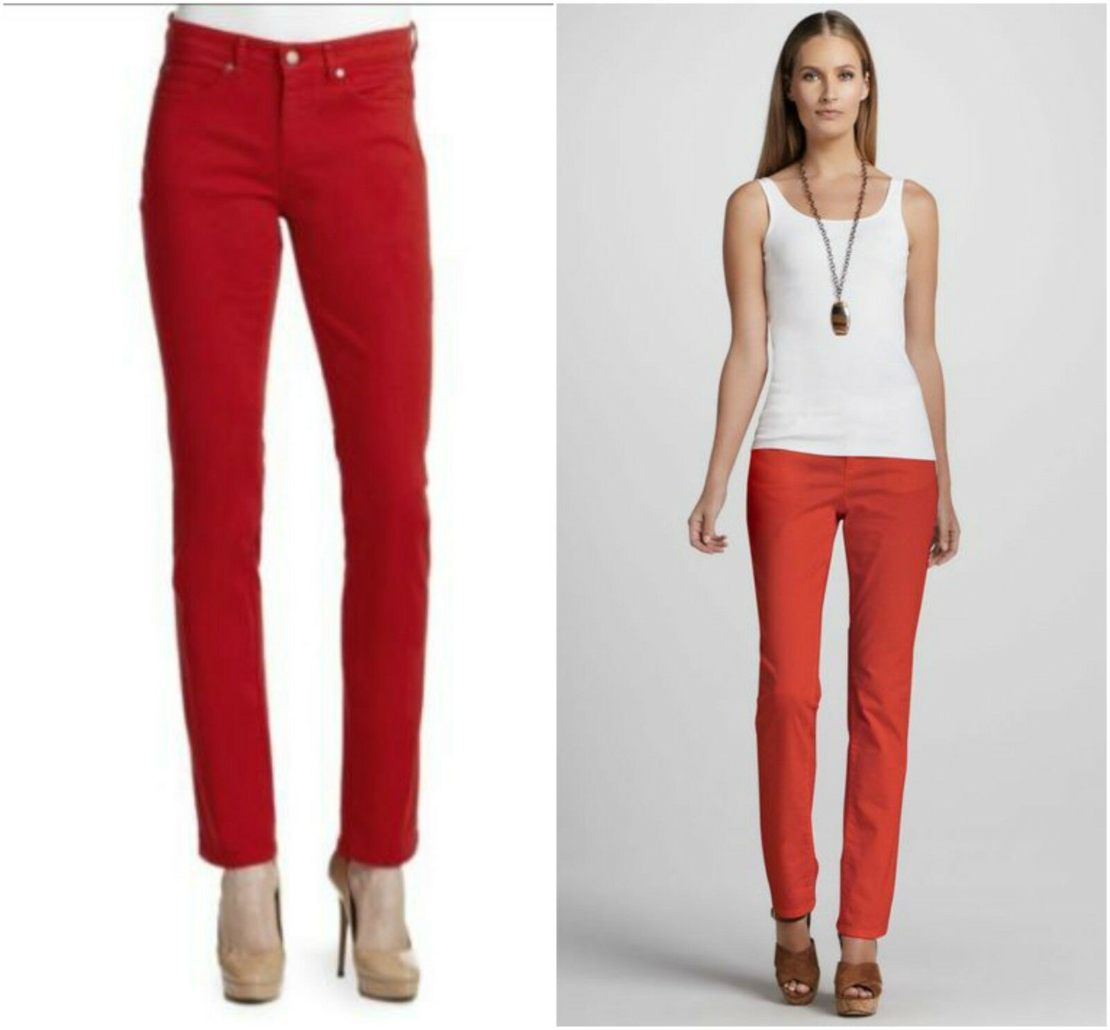 NWT Eileen Fisher Organic Cotton Twill Pants Jeans Red Slim Ankle  P12 10 12