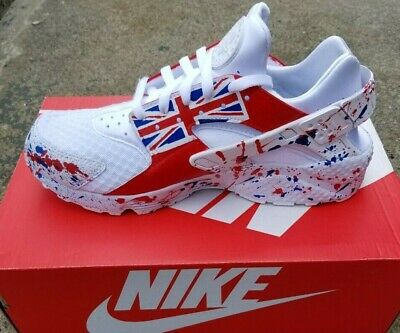 buy online 2b8e9 2e70a Nike Huarache Custom Red White and Blue Unisex sneakers all sizes available  | eBay