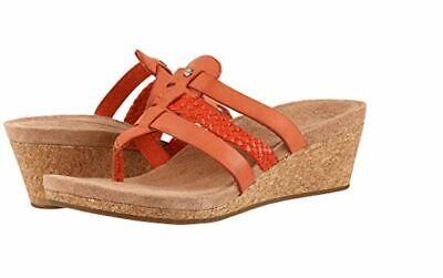 6134d0b7c41 UGG 1016764 Maddie Wedge Sandals Orange Leather size 8 women | eBay
