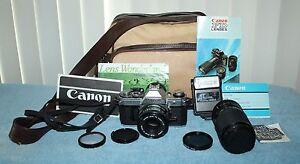 Canon AE-1 35mm Film Camera w/ FD 50mm 1:1.8 FD Lens + Extras
