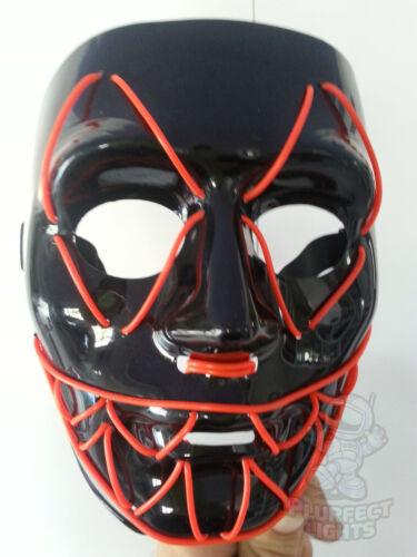 Neon RED Sharp Tooth EDC EDM Rave Party Festival Handmade Halloween Costume Mask