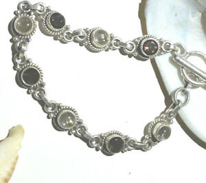 Silber-Armkette-20-cm-Rauchquarz-Turmalin-Quarz-Handarbeit-Braun-Armband-Retro