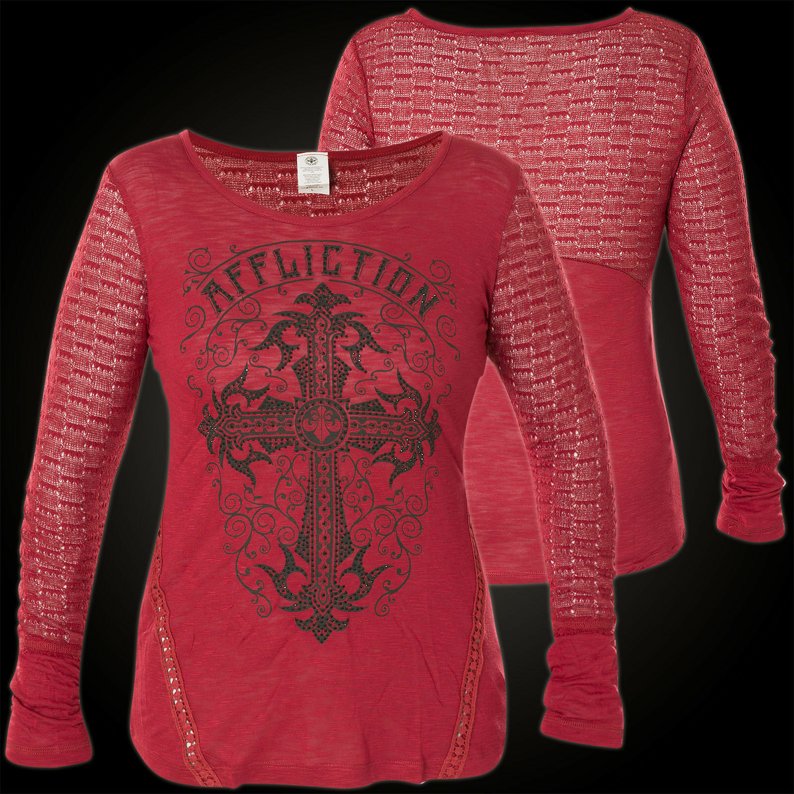 Affliction Woman Long Sleeve Raglan Sanctuary Red