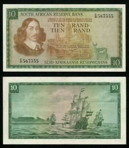 Currency 1966 South African Reserve Bank 10 Rands Banknote Van Riebeeck P# 113a