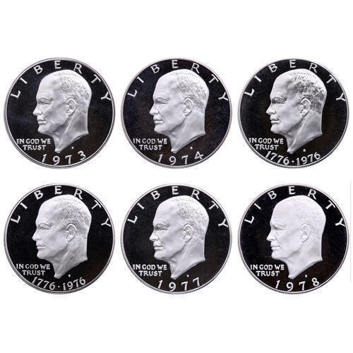1973-1978 S Eisenhower Dollar DCam Proof Run CN-Clad Ike Lot US Mint 6 Coin Set.
